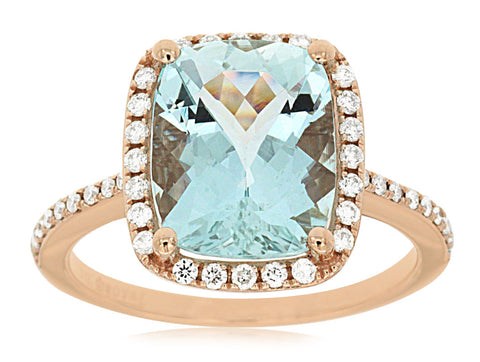 Aquamarine Halo Ring in Rose gold