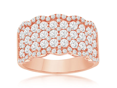 Rose Gold 5 row Diamond Band