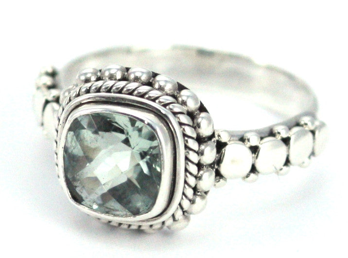 Sterling Silver Bali Green Amethyst Ring - Kuhn's Jewelers