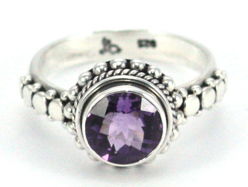 Sterling Silver Bali Round Amethyst Granulation Ring - Kuhn's Jewelers