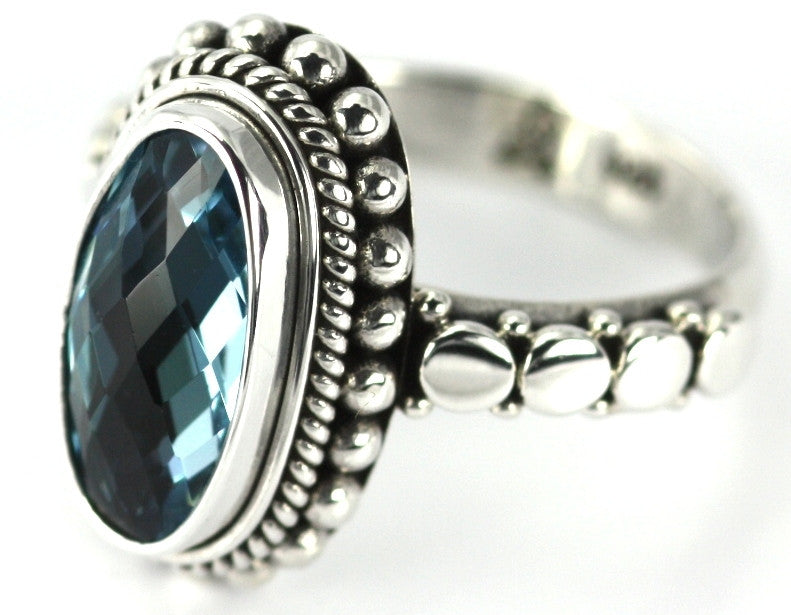 Sterling Silver Bali Sky Blue Topaz Ring - Kuhn's Jewelers