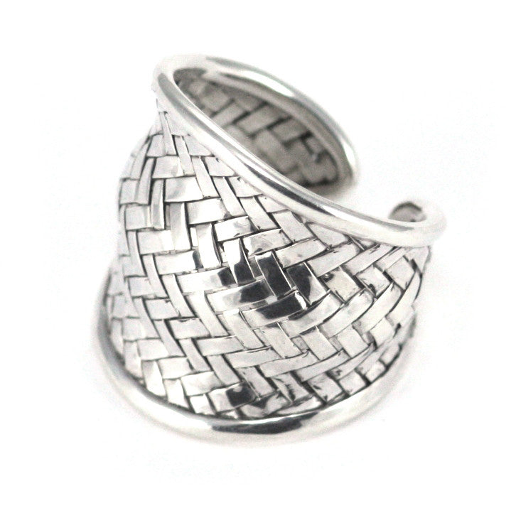 Sterling Silver Bali Woven Wave Adjustable Ring - Kuhn's Jewelers