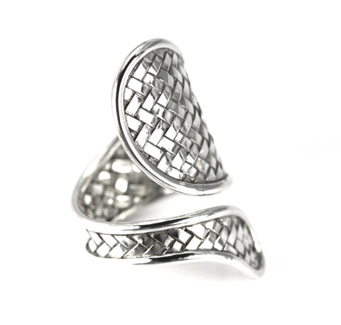 Sterling Silver Bali Woven Tapered Adjustable Ring - Kuhn's Jewelers
