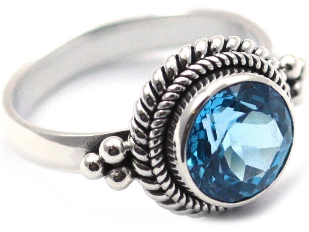 Sterling Silver Bali Blue Topaz Ring - Kuhn's Jewelers