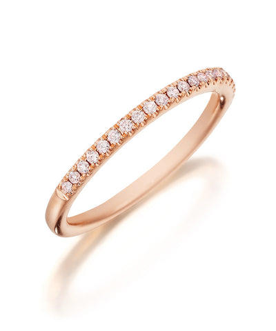 18K Rose Gold and Natural Pink Diamond Wedding Band - Henri Daussi