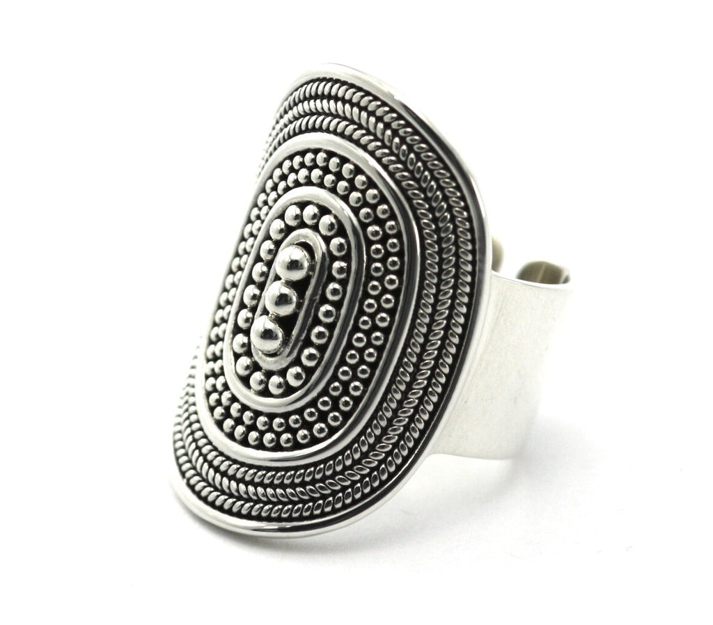 Sterling Silver Bali Bola Cigar Band Ring - Adjustable - Kuhn's Jewelers