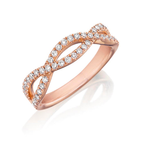 14K Rose Gold Diamond Wedding Band - Henri Daussi