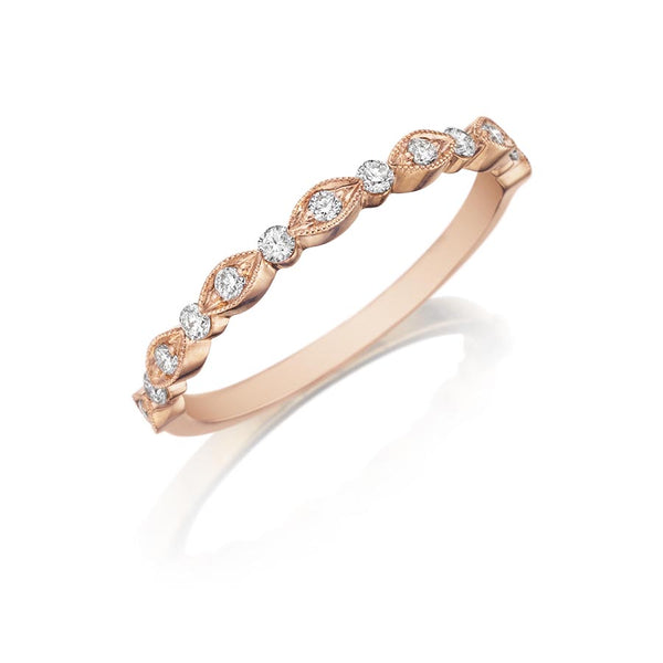14K Rose Gold Pave Dream Wedding Band - Henri Daussi