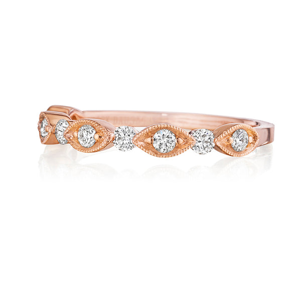 14K Rose Gold Pave Wedding Band - Henri Daussi