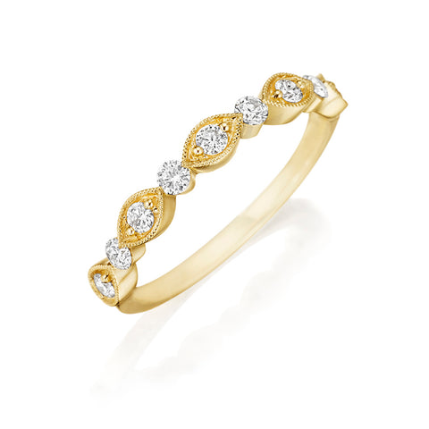 14K Yellow Gold Diamond Wedding Band - Henri Daussi