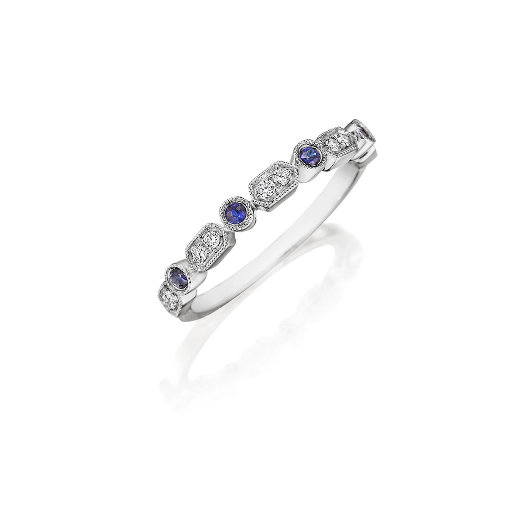 14K White Gold Diamond and Sapphire Wedding Band - Henri Daussi