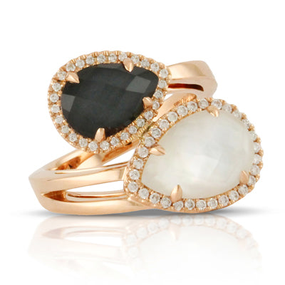 Doves - Rose Gold Diamond Halo Domino Ring