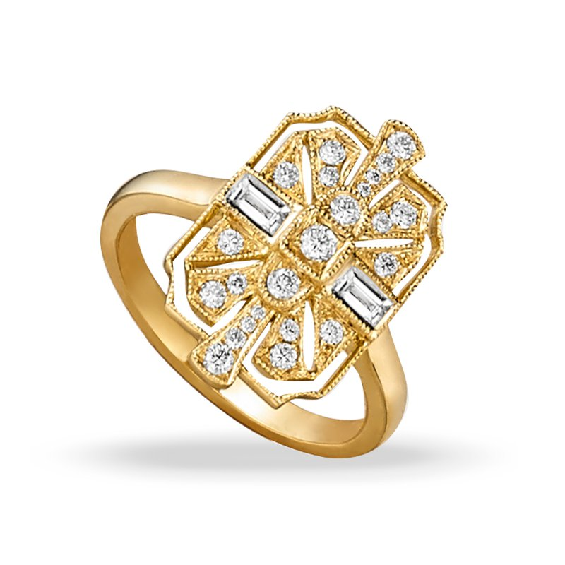 Doves - Yellow Gold Diamond Fashion Ring