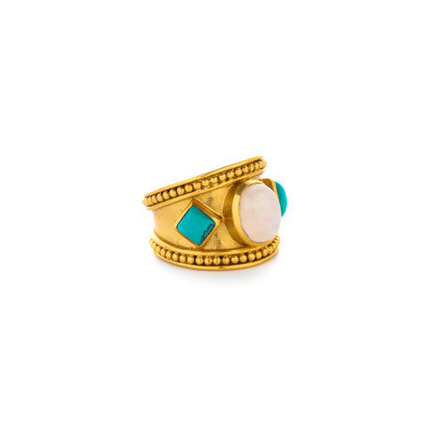 Siena Gold Moonstone with Turquoise accents Ring - Kuhn's Jewelers