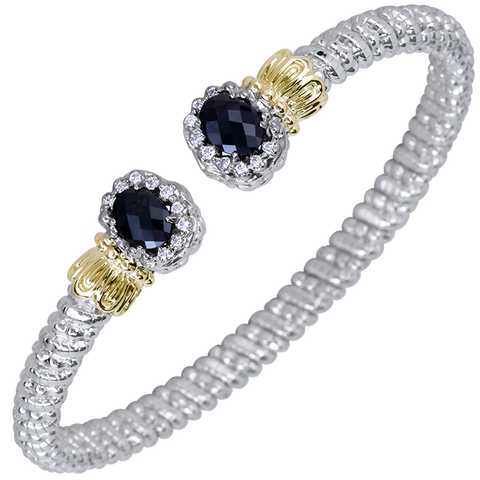Vahan - 14K Gold & Sterling Silver Diamond Bracelet Black Onyx