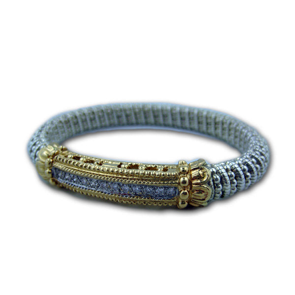 Yellow Gold and Sterling Silver Bracelet with .30 Diamonds - Kuhn's Jewelers