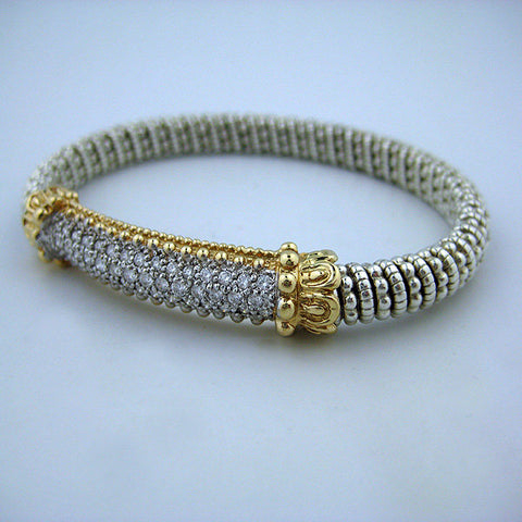 Yellow Gold and Sterling Silver Banded Bracelet with .75 Diamonds - Kuhn's Jewelers