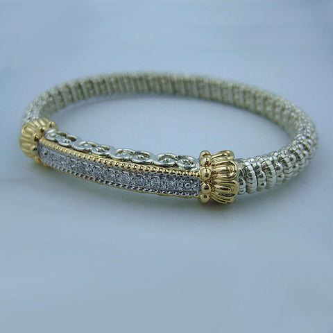 Yellow Gold and Sterling Silver Bracelet with .20 Diamonds (6mm) - Kuhn's Jewelers