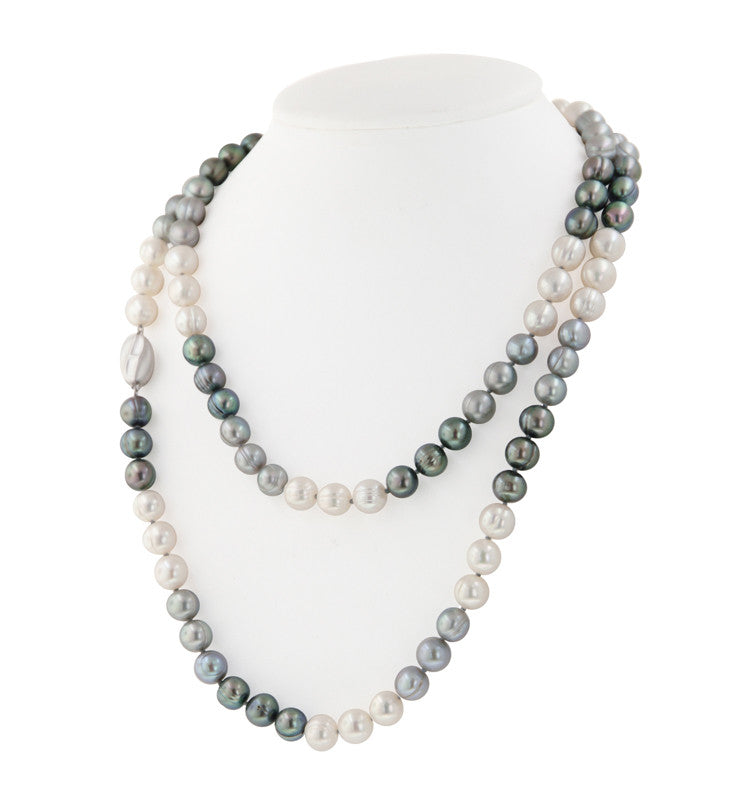"Sterling Silver 8-9MM Black, White and Gray Ringed Freshwater Cultured Pearl 36"" Necklace - Kuhn's Jewelers"