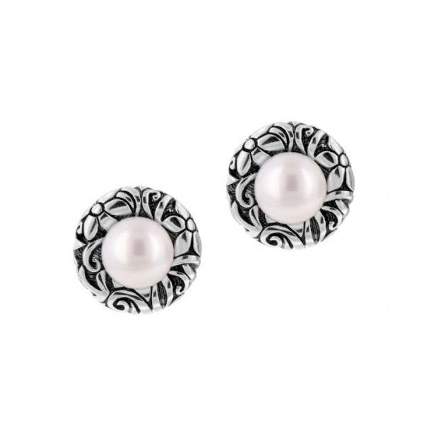 Sterling Silver and Pearl Floral Button Earrings - Kuhn's Jewelers
