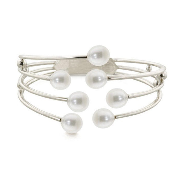 Sterling Silver and 7 Pearl Bangle Bracelet - Kuhn's Jewelers