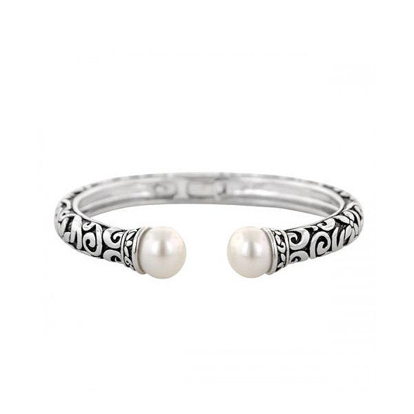 Sterling Silver and Pearl Floral Bangle Bracelet - Kuhn's Jewelers
