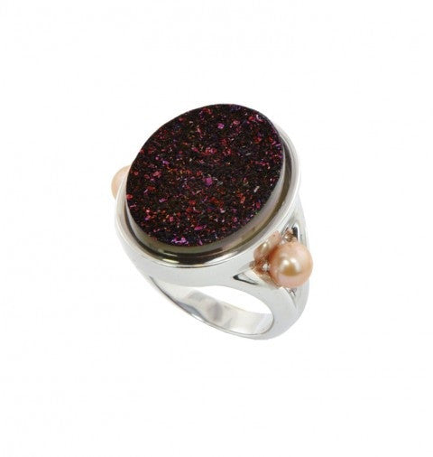 Sterling Silver 4.5-5MM Mocha Button Freshwater Cultured Pearl with Chocolate Agate Druzy Ring - Kuhn's Jewelers