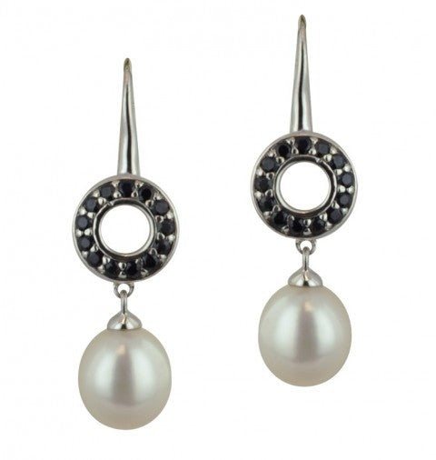 Sterling Silver 8.5-9mm White Oval Freshwater Cultured Pearl Black Sapphire Dangle Earrings - Kuhn's Jewelers