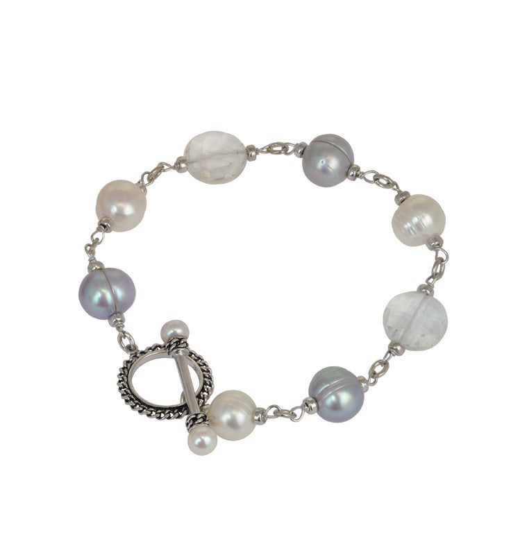 "Sterling Silver 5-10mm White and Grey Freshwater Cultured Pearl with Rock Crystal 8"" Bracelet - Kuhn's Jewelers"