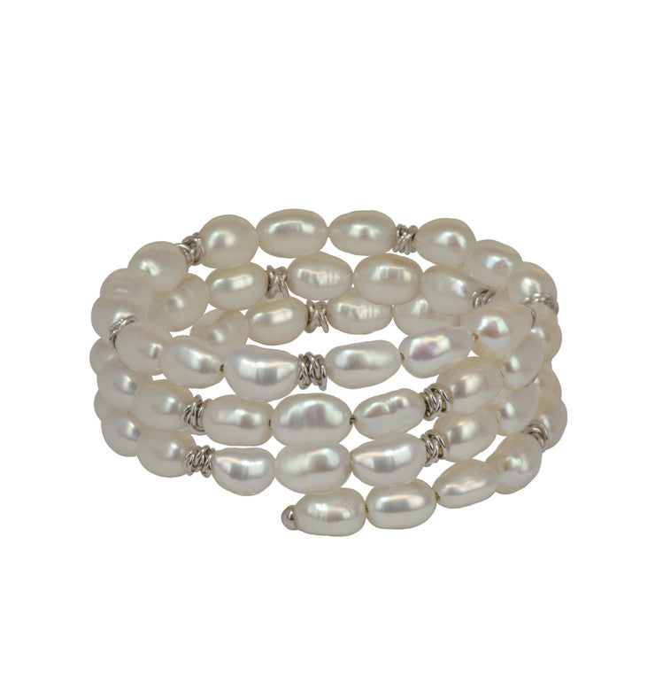 Sterling Silver 7-8MM White Baroque Coil Bracelet - Kuhn's Jewelers