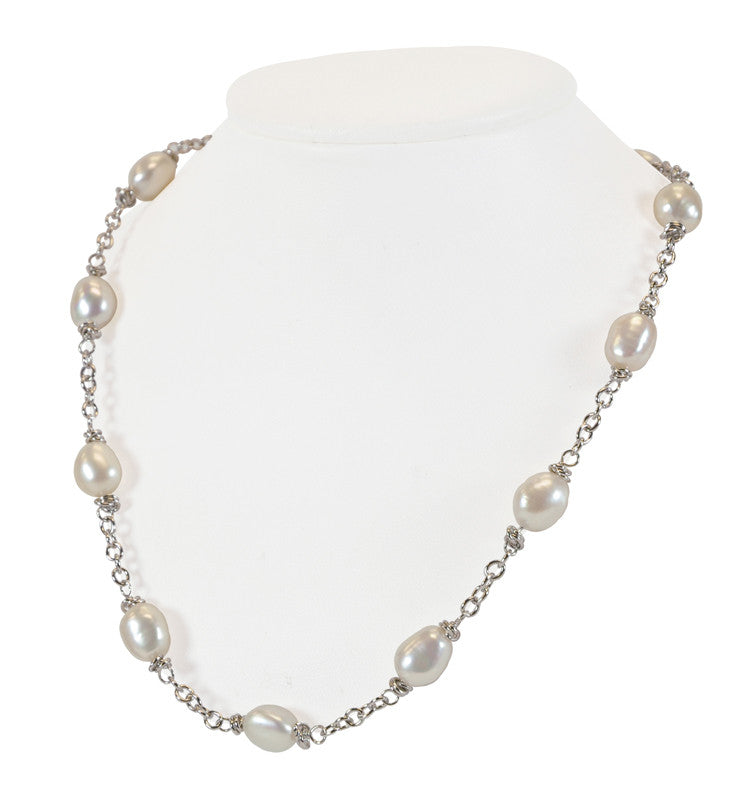 "Sterling Silver 9-10MM White Baroque Freshwater Cultured Pearl 18"" Necklace - Kuhn's Jewelers"