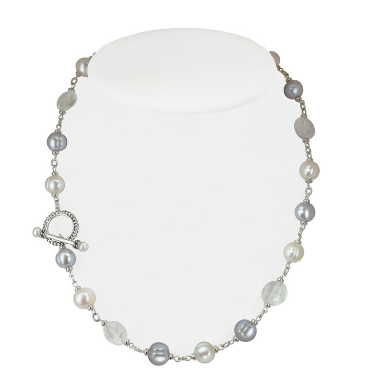 "Sterling Silver 5-10mm White and Grey Freshwater Cultured Pearl with Rock Crystal 18"" Necklace - Kuhn's Jewelers"