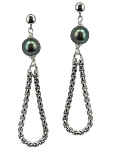 Sterling Silver 8-9MM Black Ringed Freshwater Cultured Pearl Dangle Earrings - Kuhn's Jewelers