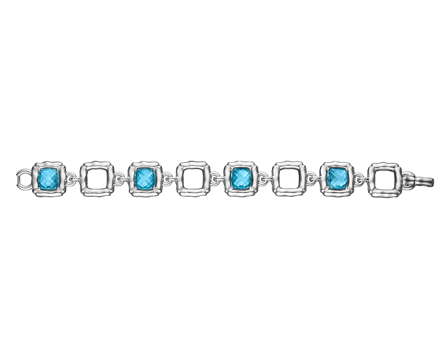 Bamboo and Blue Topaz Square Link Bracelet - Kuhn's Jewelers