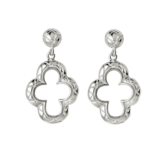 Quilted Quatrefoil Large Drop Earrings - Kuhn's Jewelers