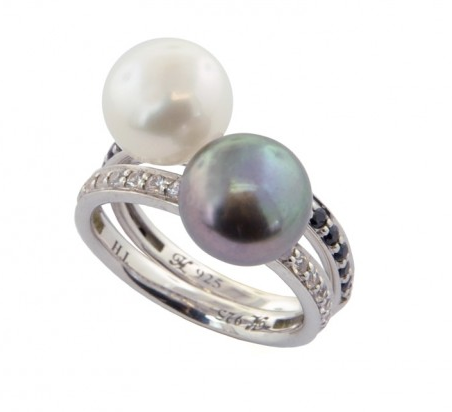 Set of (2) Sterling Silver 9.5-10mm Black/White Button Freshwater Cultured Pearl with White/Black Sapphire Stack Ring - Kuhn's Jewelers