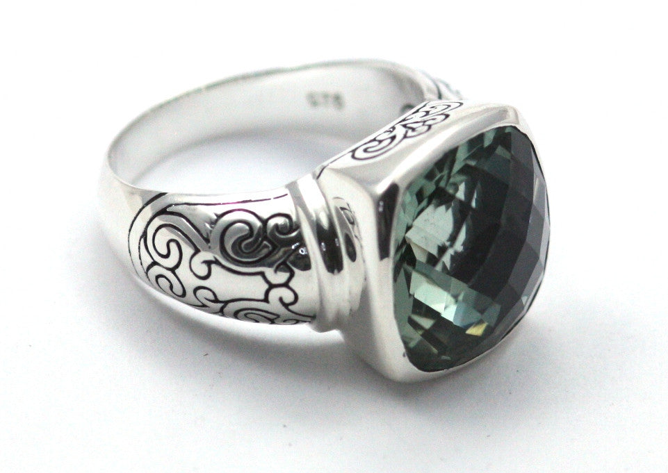 Artisan crafted .925 sterling silver carved ring with large, cushion-cut green amethyst. - Kuhn's Jewelers