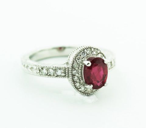 Ruby & Diamond Solitaire - Kuhn's Jewelers - 1