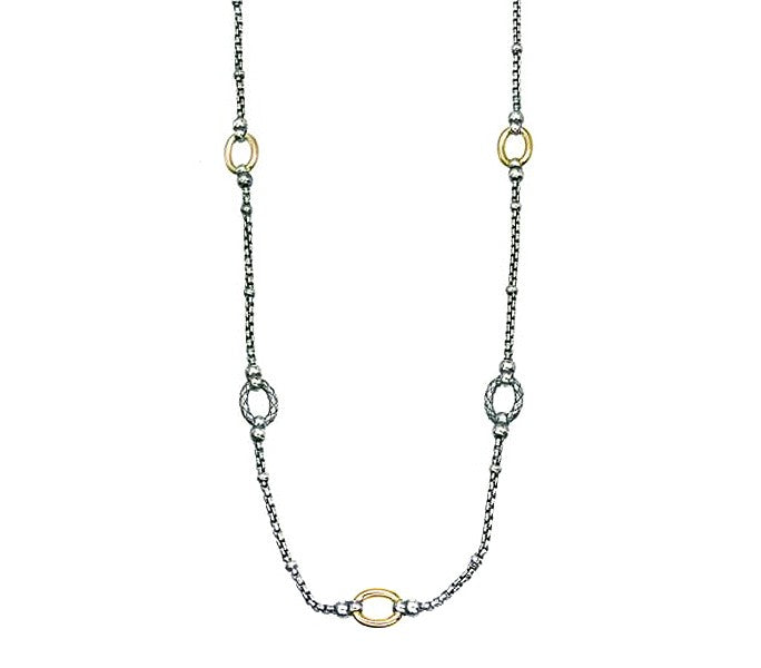 Alisa - 2-tone Necklace with Oval Stations and Box Chain