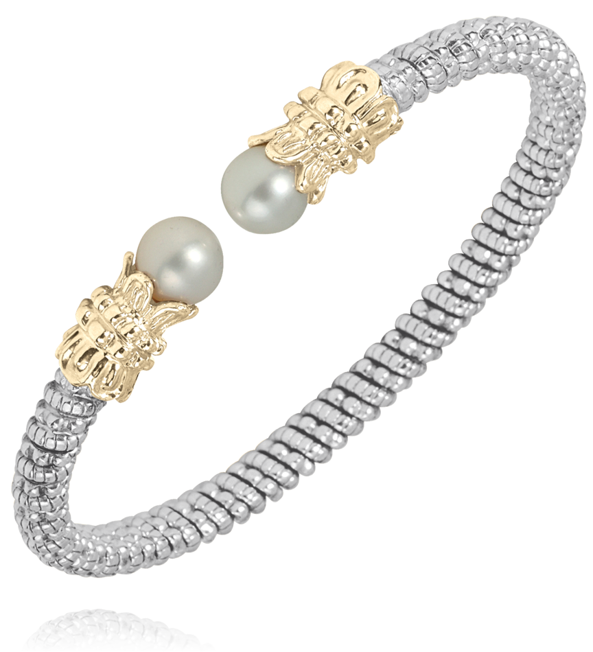 Sterling Silver & 14K Yellow Gold Bracelet with Pearl Accent