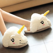 Load image into Gallery viewer, Adult Unicorn Plush Slippers