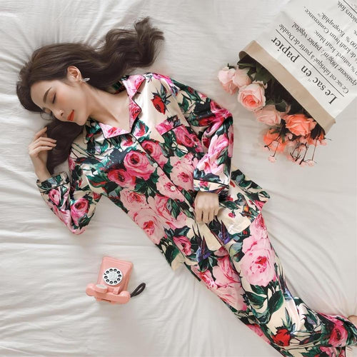 Women's Satin Silk Flower Print Pajamas
