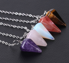 Load image into Gallery viewer, Amethyst Crystal Hexagonal Natural Stone Healing Reiki Pendulum