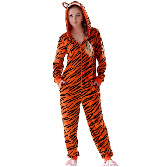 Adult Fleece Tiger Onesie Pajamas