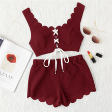 Load image into Gallery viewer, Red Berry Scalloped Lace Up Crop Top and Shorts Set