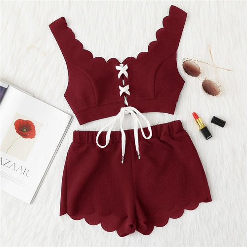Red Berry Scalloped Lace Up Crop Top and Shorts Set