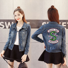 Load image into Gallery viewer, Womens Denim Riverdale Southside Serpents Jean Jacket