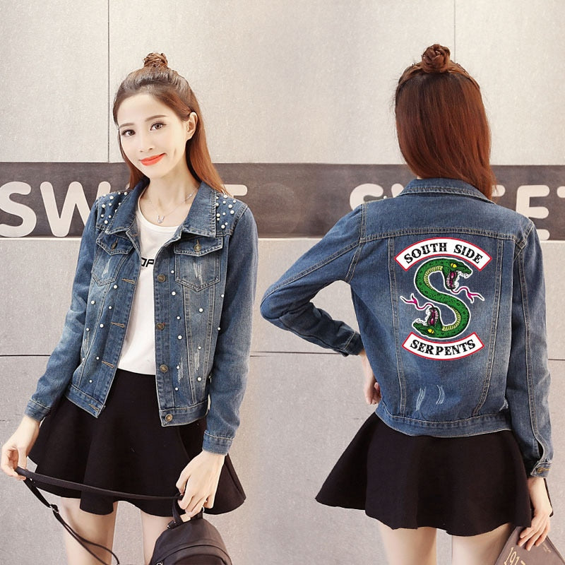 Womens Denim Riverdale Southside Serpents Jean Jacket