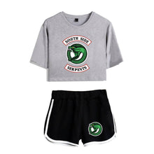 Load image into Gallery viewer, Riverdale Southside Serpents Tracksuit Athletic Crop Top & Shorts Workout Set