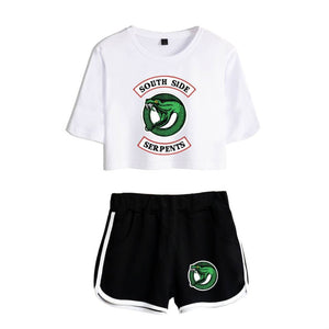 Riverdale Southside Serpents Tracksuit Athletic Crop Top & Shorts Workout Set